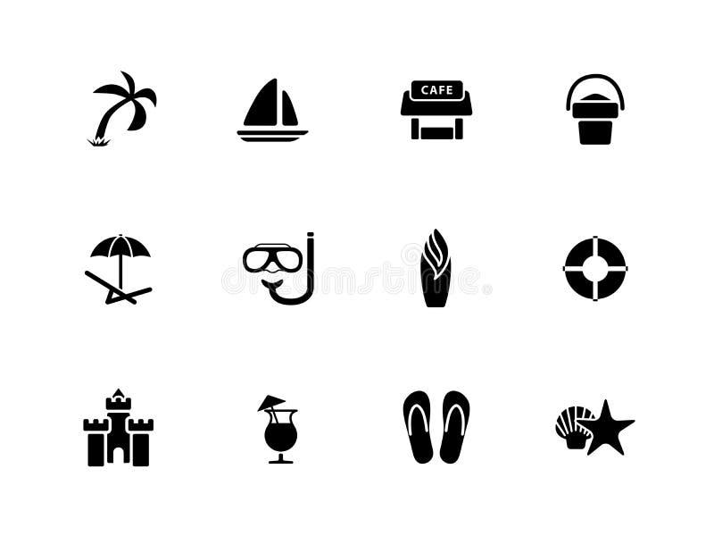 Strandsymboler på vit bakgrund. royaltyfri illustrationer