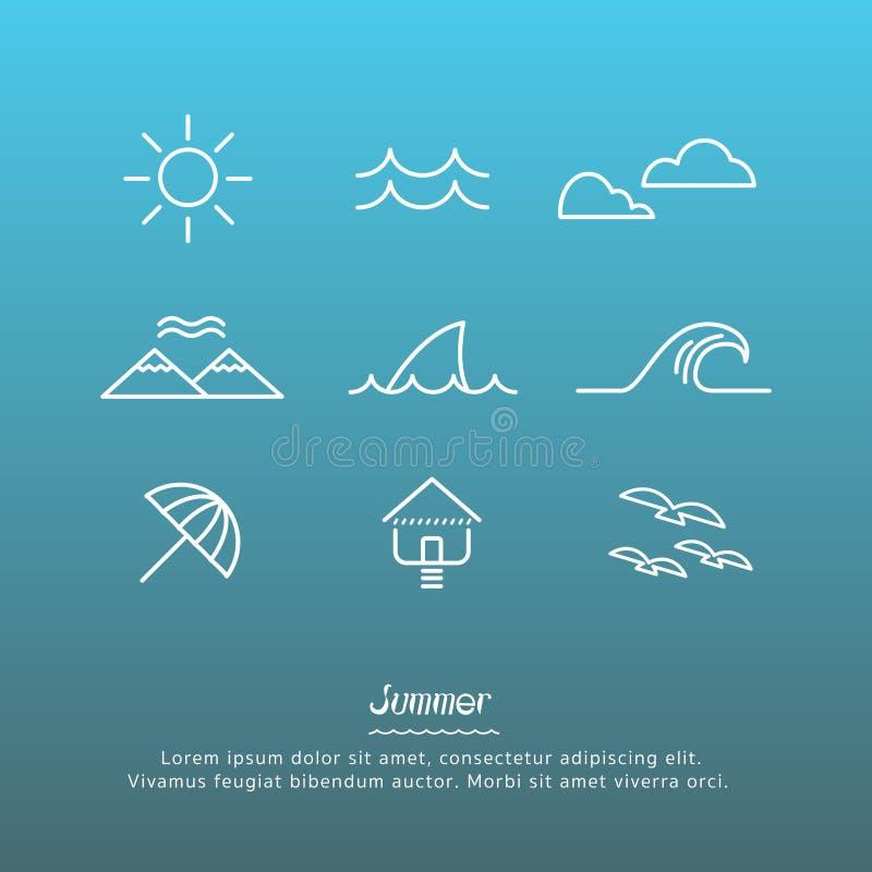 Strandsymboler planlägger uppsättningen royaltyfri illustrationer