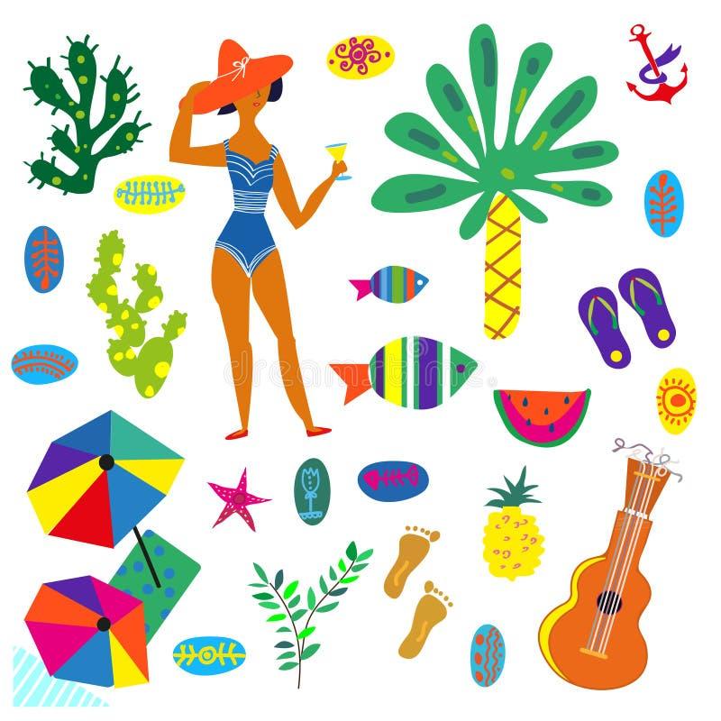 Strandsymboler ställde in, den roliga ljusa designen, vektorillustration stock illustrationer