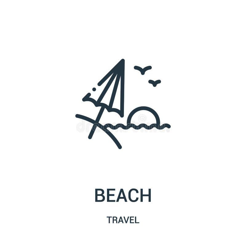 strandsymbolsvektor från loppsamling Tunn linje illustration för vektor för strandöversiktssymbol Linjärt symbol för bruk på reng royaltyfri illustrationer