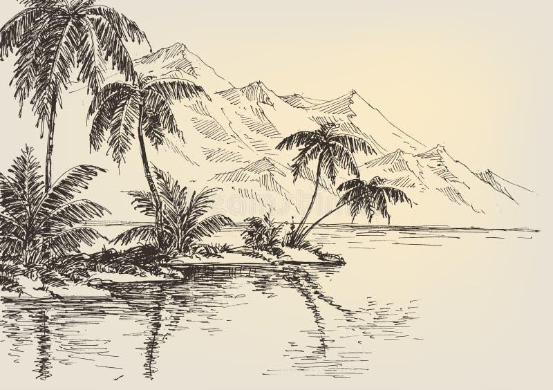 Strandteckning, palmträd royaltyfri illustrationer