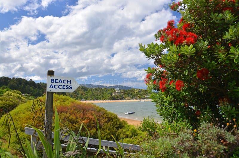 Strandtillträdestecken på den Kaiteriteri stranden, Nya Zeeland. arkivfoto
