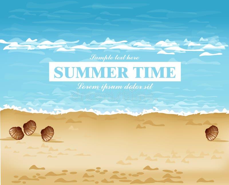 Strandufer-Sommerkarte Vektor Wellen, blaues Meer und Sandhintergründe stock abbildung