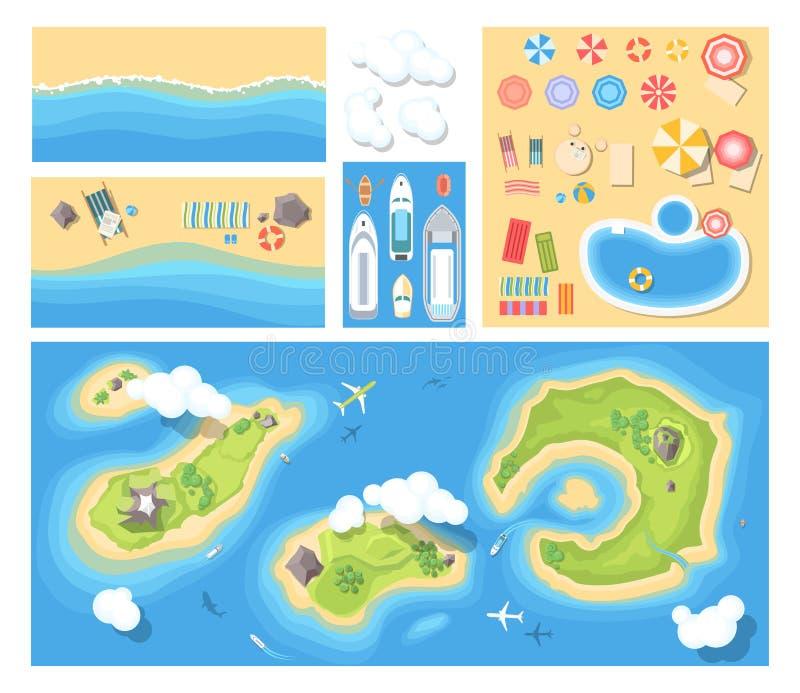 Strandurlaub - moderner Vektorsatz Illustrationen stock abbildung