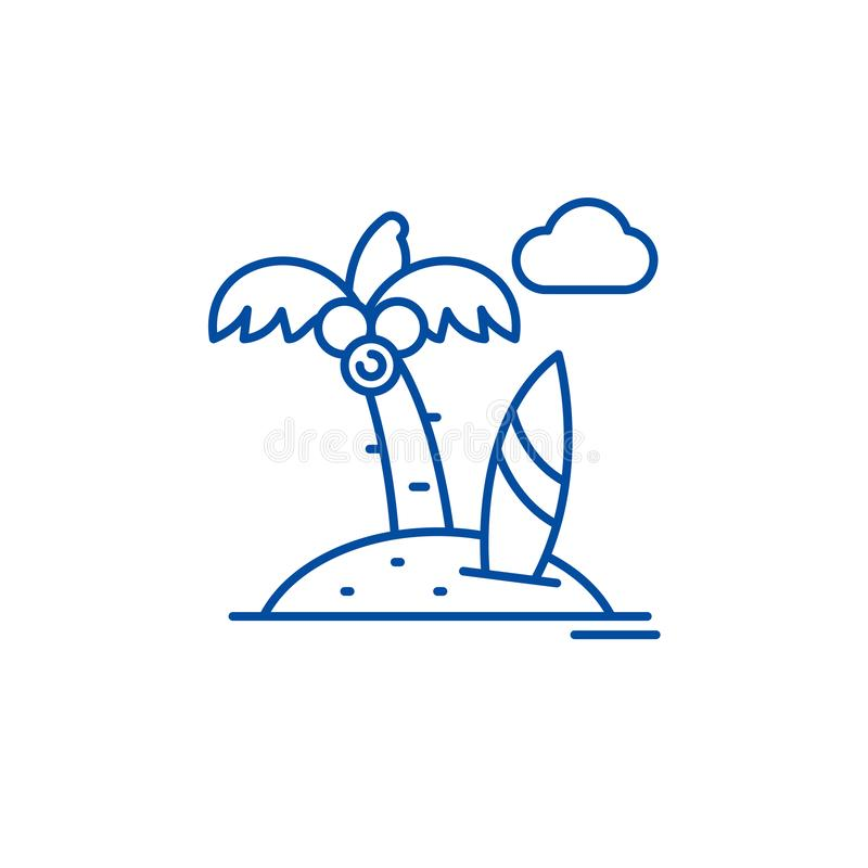 Strandurlaublinie Ikonenkonzept Flaches Vektorsymbol des Strandurlaubs, Zeichen, Entwurfsillustration stock abbildung