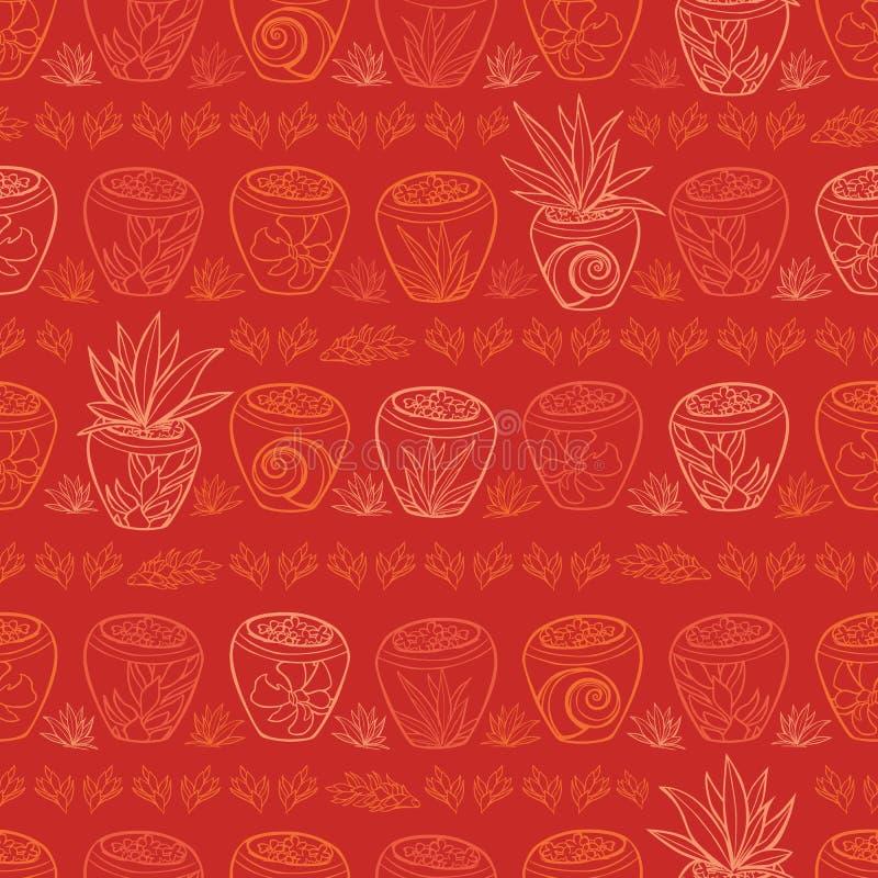 Strandurlaubsort-Wiederholungsmuster der roten Topfpflanzen des Vektors tropisches Passend für Geschenkverpackung, -gewebe und -t stock abbildung