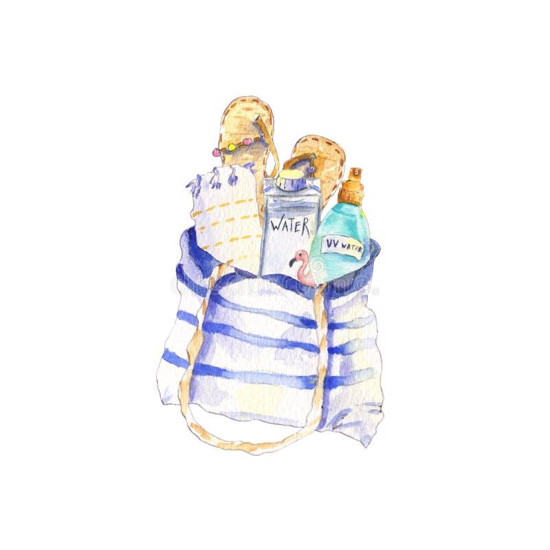 Strandväsentlighetvattenfärg royaltyfri illustrationer