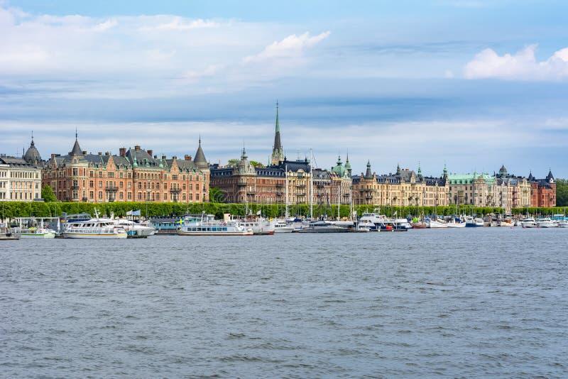 Strandvagen-Dammarchitektur, Stockholm, Schweden stockbilder