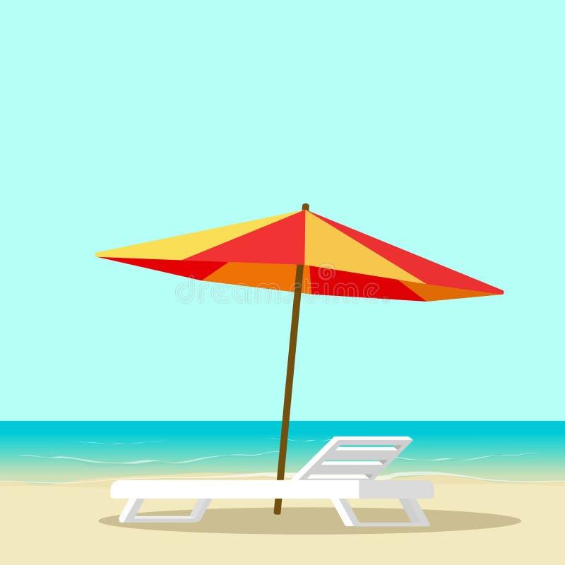 Strandvardagsrum med tom stol nära illustrationen för havs- och solparaplyvektor, plant landskap för tecknad filmsjösidasemestero vektor illustrationer