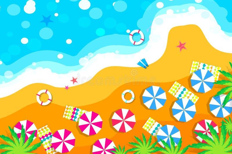 Strandvilotid att resa ferier Sommarsemester för bästa sikt royaltyfri illustrationer