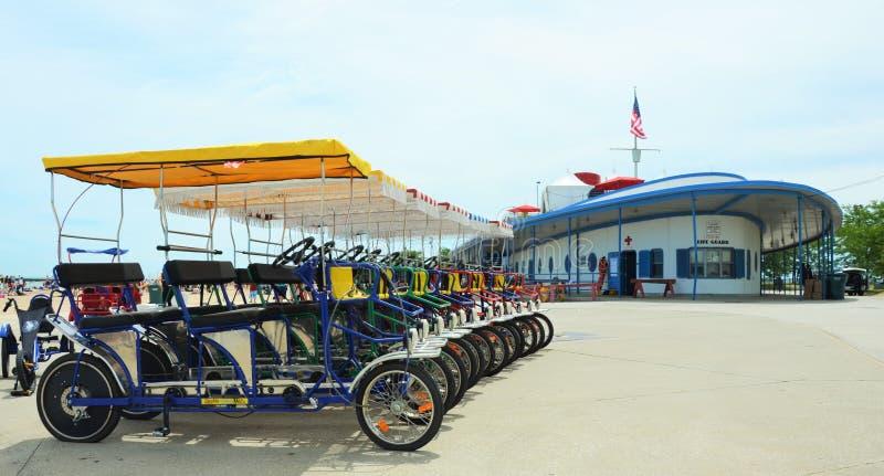 Strandvoertuigen in Chicago stock afbeeldingen