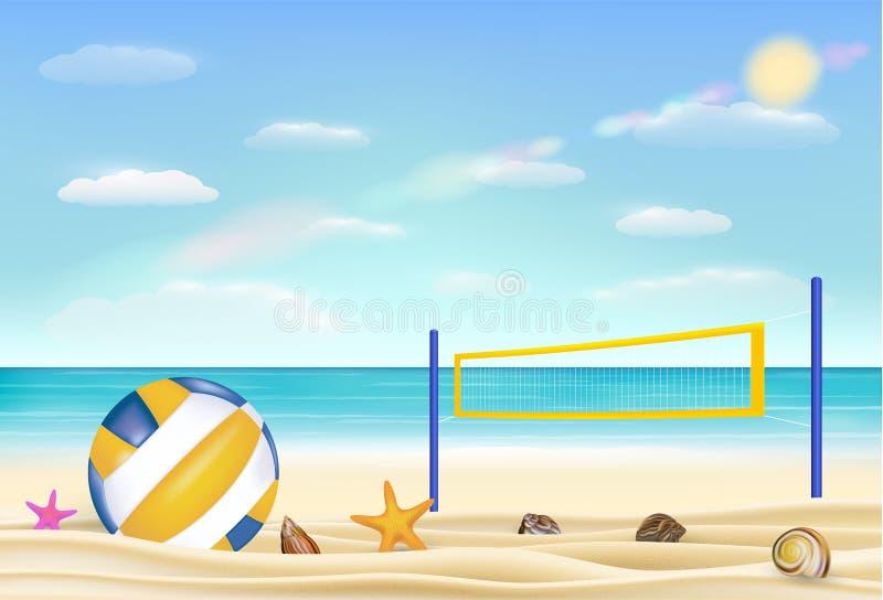 Strandvolleyboll och förtjänar på en sandstrand med kommer med havshimmelbakgrund stock illustrationer