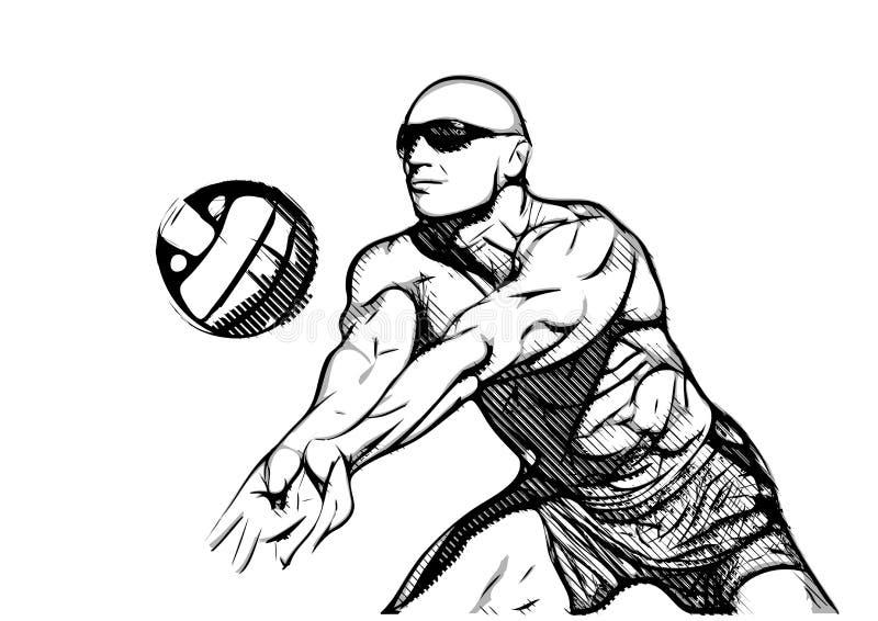 Strandvolleybollspelare i handling arkivbild