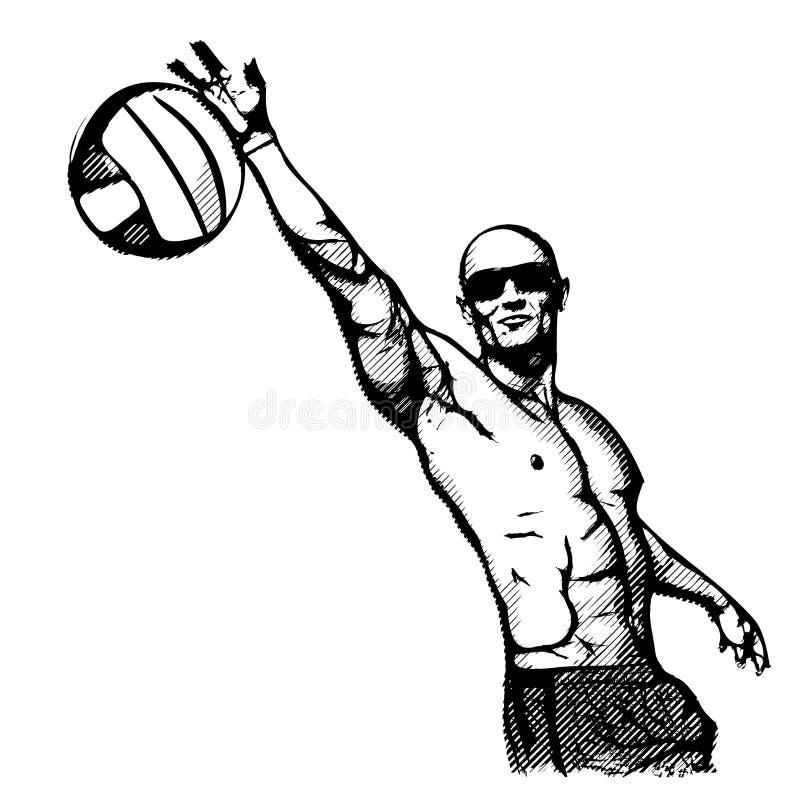 Strandvolleybollspelare i handling 2 royaltyfri foto