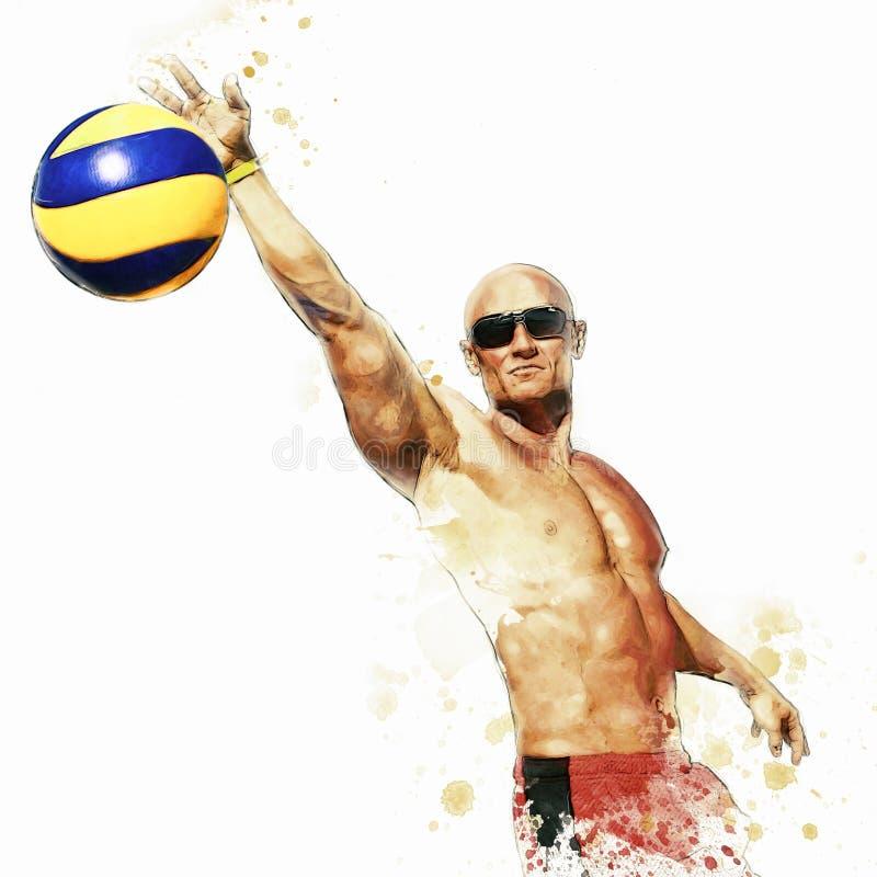 Strandvolleybollspelare i handling 2 arkivbild