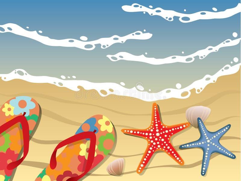 strandvykort royaltyfri illustrationer