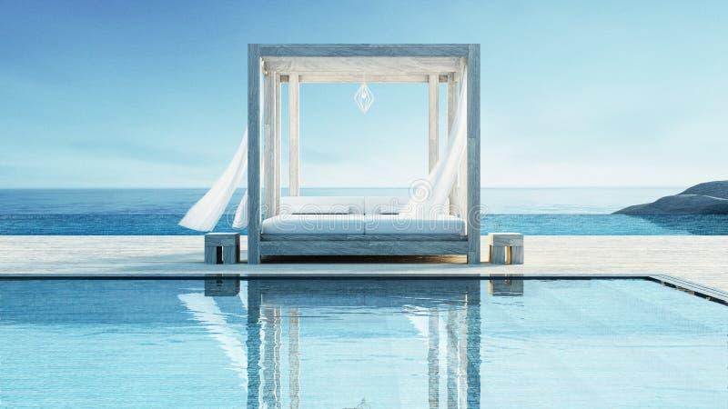 Strandzitkamer - de oceaanvilla op Overzeese mening voor vakantie en de zomer/3d geven terug royalty-vrije illustratie
