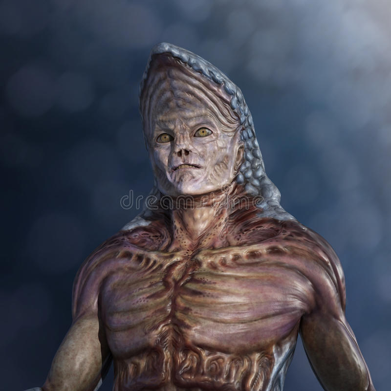 Strange Alien Portrait. Portrait of a very strange alien - 3d render royalty free illustration