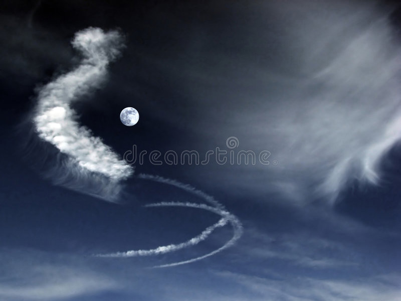 Strange clouds in full moon royalty free stock photography
