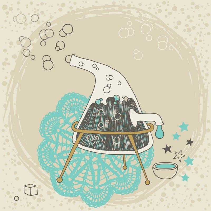 Strange Distiller. With boiling liquid vector illustration