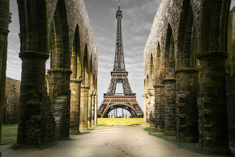 Strange Eiffel Tower. A strange view of Eiffel Tower royalty free stock photography