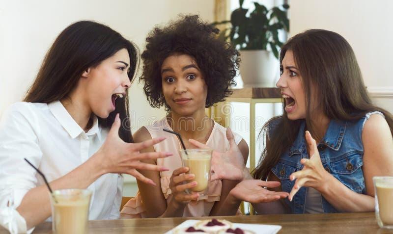Strange female friendship, women arguing in cafe stock photos