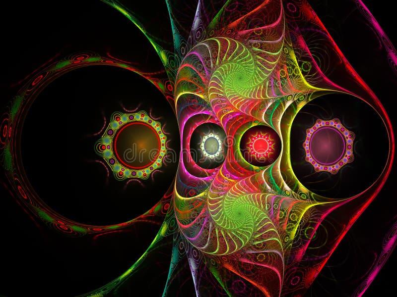 Strange fractal. Fractal with strange shapes on a black background vector illustration