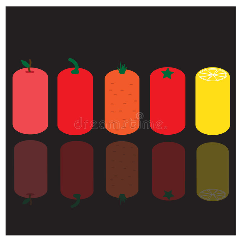 Strange fruit and vegetables. With reflection vector illustration