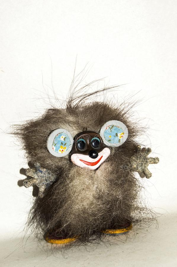 Strange furry creature hobgoblin with large ears stock images
