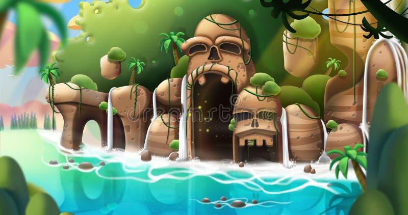 The Strange Island. Video Game`s Digital CG Artwork, Concept Illustration, Realistic Cartoon Style Background stock illustration