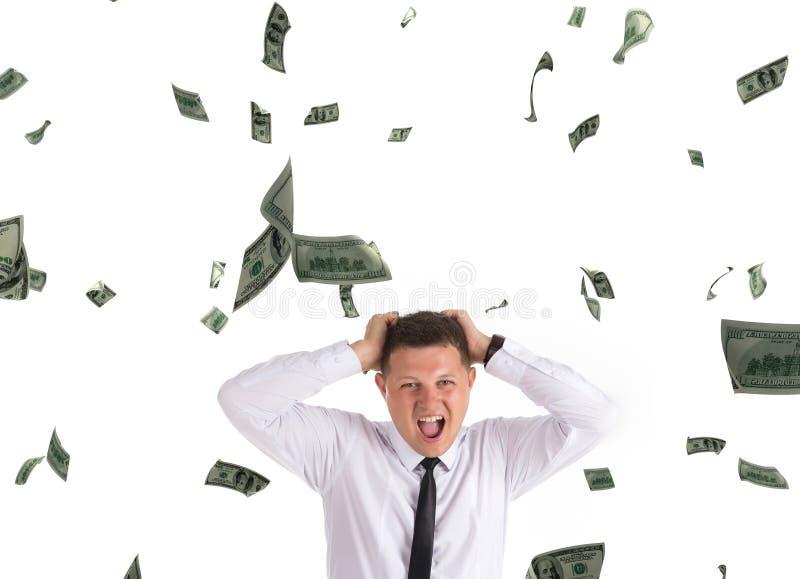Strange man uder rain of dollars royalty free stock images