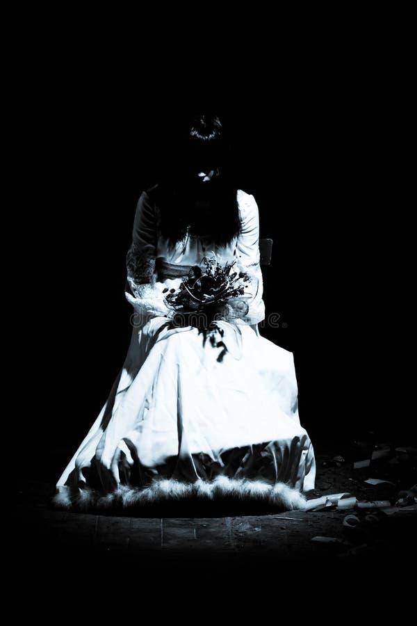 Horror scene - scary woman stock image