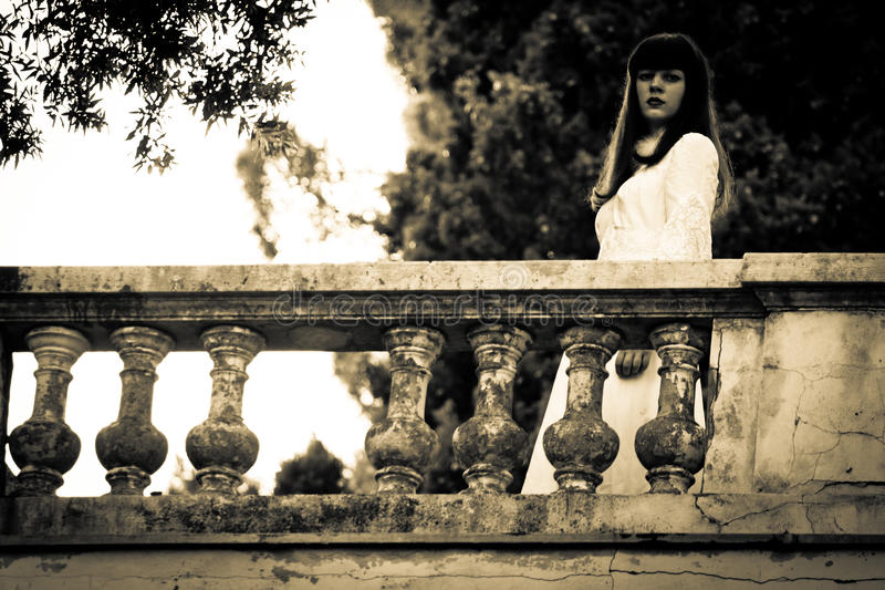 The strange mysterious girl. Horror scene of a scary woman stock photos