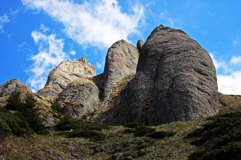 Strange rock formations in Ciucas mountains stock photography