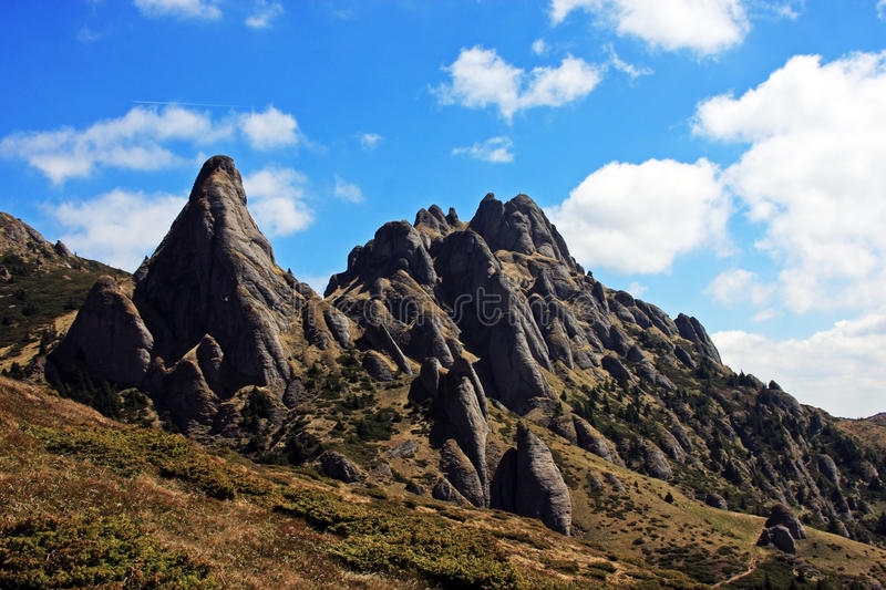 Strange rock formations in Ciucas mountains royalty free stock photo