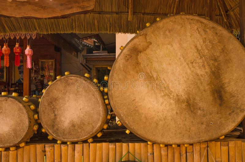 Strange shape of leather drums in Thailand royalty free stock image