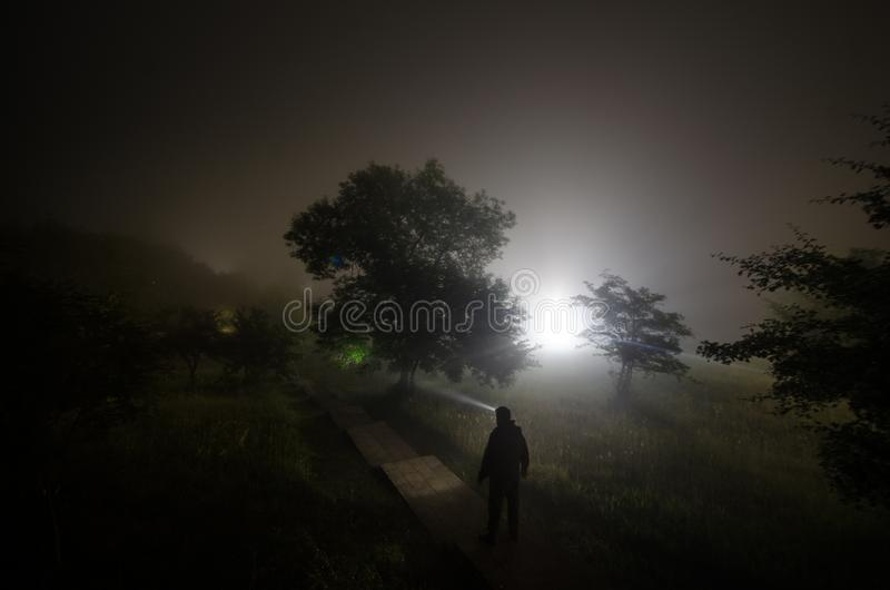 Strange silhouette in a dark spooky forest at night, mystical landscape surreal lights with creepy man stock images