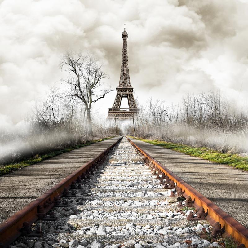 Strange view of Eiffel Tower. A strange view of Eiffel Tower royalty free stock photo