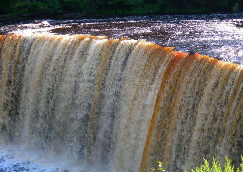 Strange Waterfall on river in Michigan stock photo