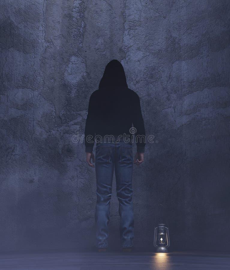 A stranger in a dark room stock image