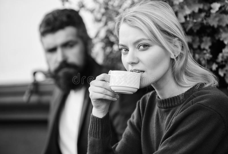 Strangers meet become acquaintances. Apps normal way to meet and connect with other single people. Meeting people first. Date. Couple terrace drinking coffee royalty free stock photo