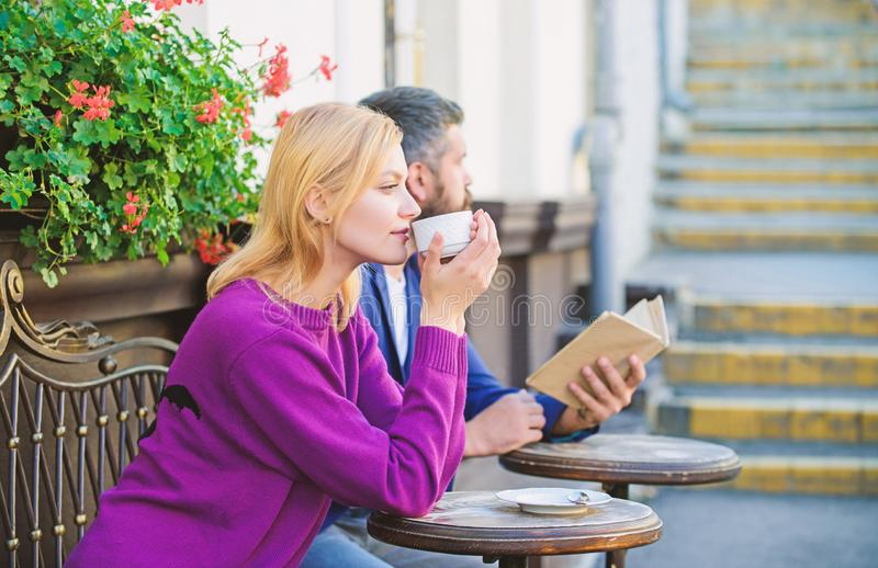 Strangers meet become acquaintances. Meeting people first date. Couple terrace drinking coffee. Casual meet acquaintance. Public place. Apps normal way to meet royalty free stock photography