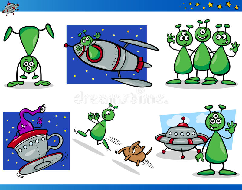Stranieri o personaggi dei cartoni animati di Marziani messi illustrazione di stock