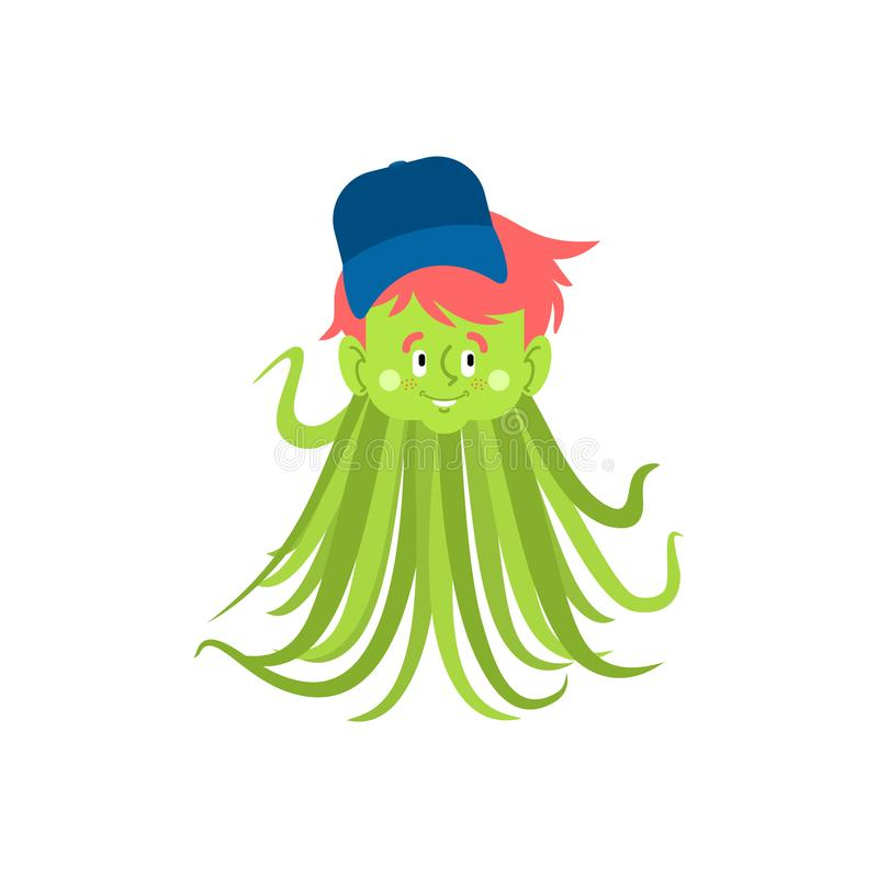 Straniero del ragazzo Tentacoli verdi del nipote Tipo del UFO Bambino extraterrestre royalty illustrazione gratis