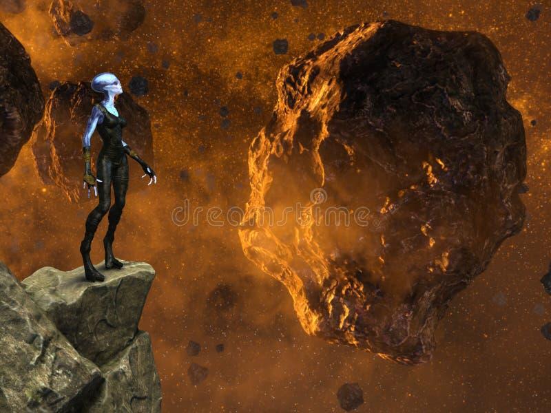 Straniero di spazio di fantasia, asteroidi, Rocky Cliff Ledge illustrazione vettoriale