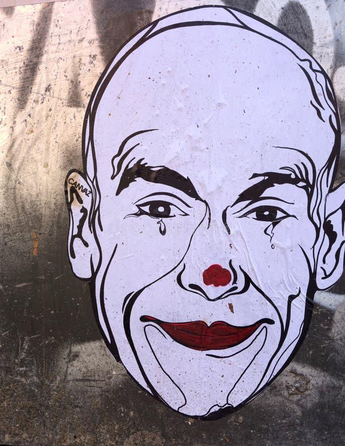 Strappi di un pagliaccio Arte urbana della via da Canvaz immagine stock