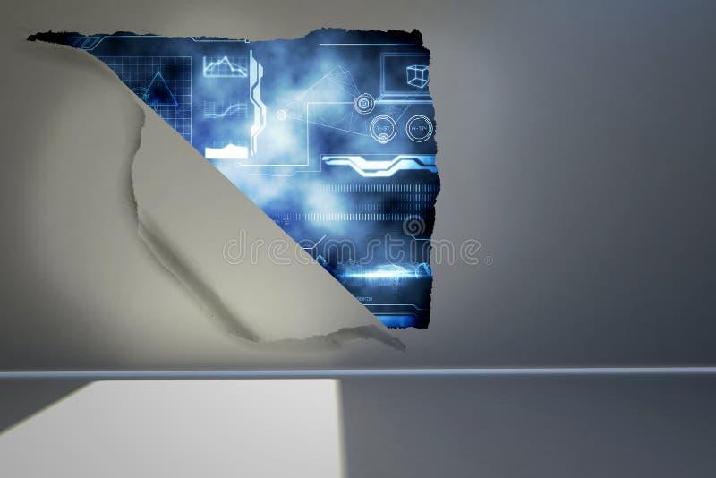 Strappo sulla parete che mostra interfaccia illustrazione vettoriale
