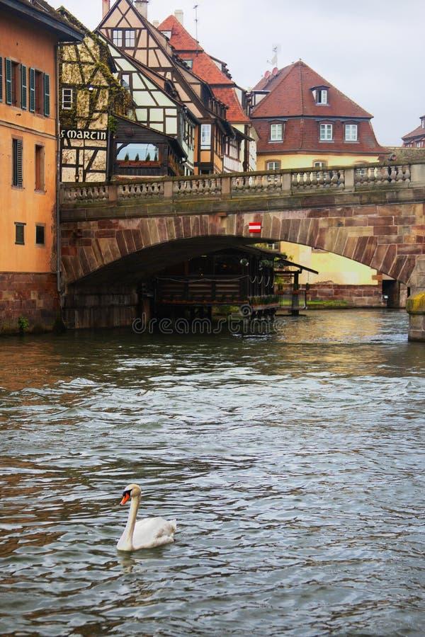 Strasbourg, Alsácia, França - 17 de abril de 2019: Vista de casas coloridas tradicionais no La Petite France fotografia de stock