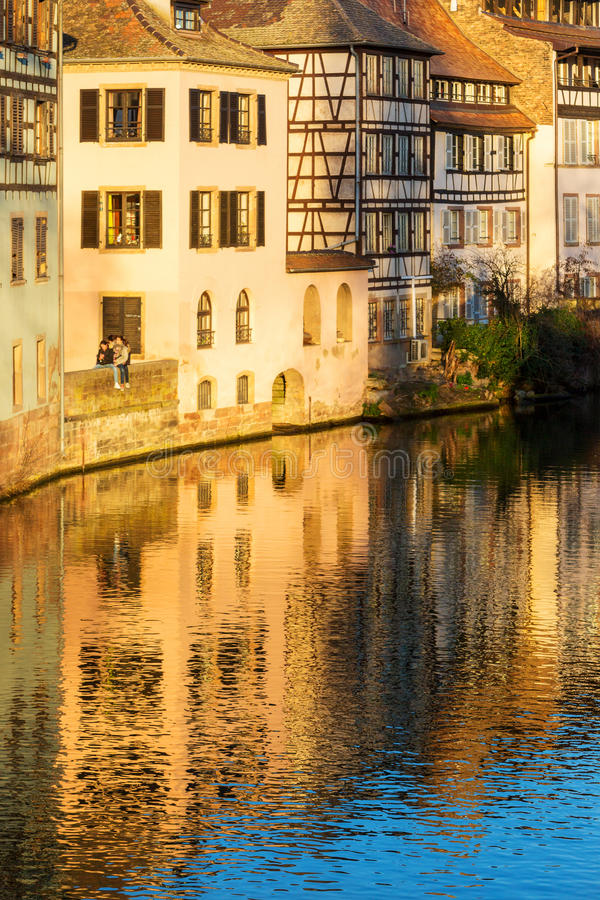Strasbourg canal petite france area and timbered house stock photo