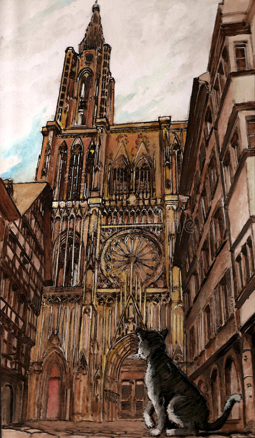 Download The Strasbourg cathedral stock illustration. Image of meters - 14170324